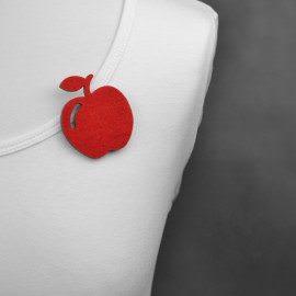broszka filcowa jabłko