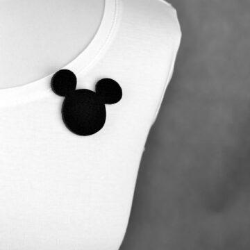 broszka filcowa czarna myszka Miki