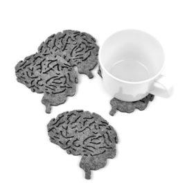 Cztery filcowe podkładki w kształcie mózgu