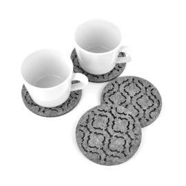 cztery podkładki filcowe w kształcie koła z marokańskim wzorem