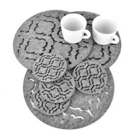 sześć podkładek filcowych w kształcie koła z marokańskim wzorem