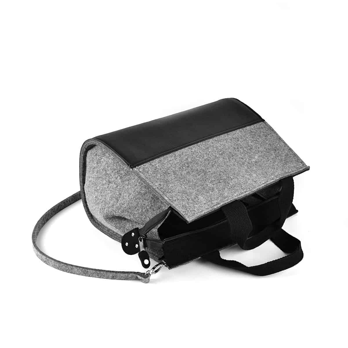 d750afdaeaf35 Szaro-czarna filcowa torebka BlackShell - FELT LABEL