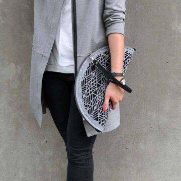 Szaro-czarna filcowa torebka ZipperDumpling