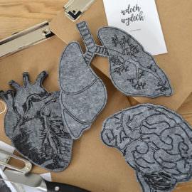filcowe trio mózg serce płuca do dekoracji