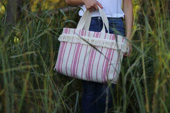 Kremowa torebka w różowe pasy limitowana edycja