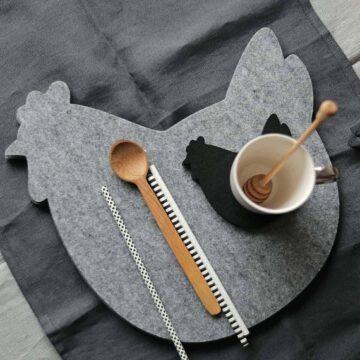 Podkładka filcowa w kształcie kury pod kubek
