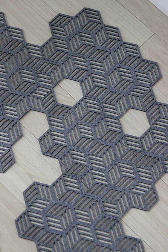 Podkładka filcowa z motywem heksagonów
